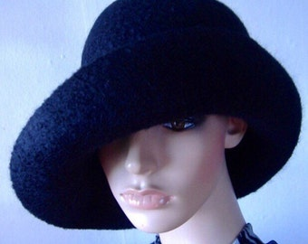 Wool Hat Felt Hat Felt Wide Brim Hat Handmade Felt Hat Women's Stylish Hat Felted Wool Hat Black Cloche Hat Black Felt Hat Felt Cloche Hat