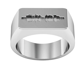 I DO Ring, Custom Soundwave Ring, Rectangle Signet Ring, Custom Engraved Signet Ring, Silver Signet Ring, Personalized Signet Ring, Man Ring