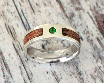 Silver and Wooden Ring with Birthstone, Wood Wedding Band Ring, Silver Birthstone Ring, Silver and Wood Ring, Wooden Band Ring