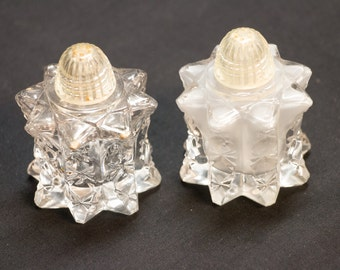 Vintage Crystal Salt and Pepper Shakers, Clear Glass Table Ware