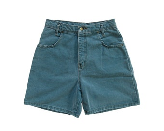 90s Faded Teal High Waisted Denim Jean Shorts (Women's Size 10)