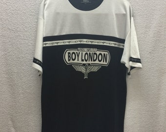 Vintage BOY LONDON Eagle Punk Rock Seditionaries Designer Glam Raglan TShirt Sz Medium