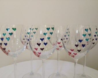 Hand painted heart wine glasses - set of 6
