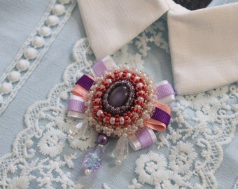 Handmade beaded brooch