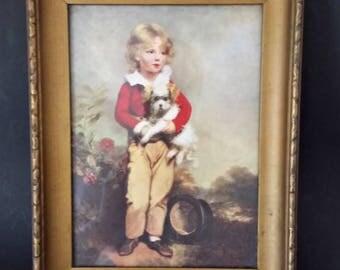 Vintage Framed Print Wood Frame French Boy With Dog C Bremont