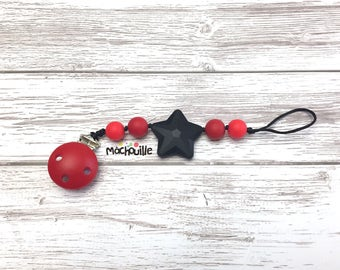 Baby pacifier holder, silicone pacifier chain, food grade silicone, silicone chew toy, baby pacifier, baby safe, black and red, Mâchouille