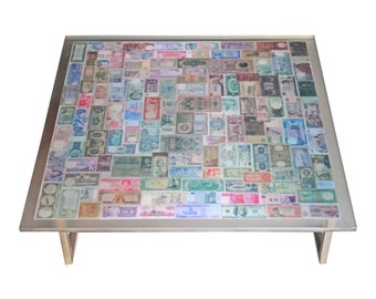 Vintage Modern 'The Color of Money' Coffee Table - Currency Photos Tabletop - Custom Design - World's Money Collage