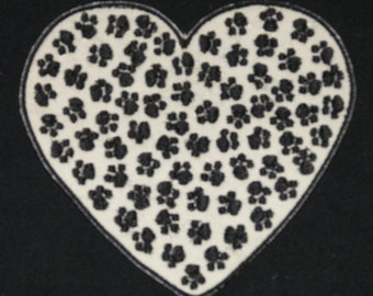 Embroidered Dalmatian Animal Paw Prints Love Black & White Heart Patch Iron On Sew On USA