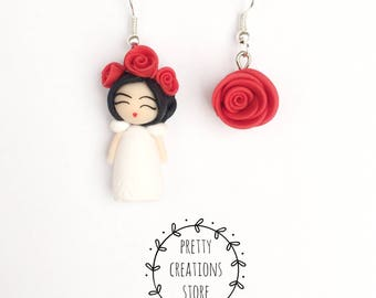 Frida Kahlo Frida Frida Kahlo Jewelry, Earrings, Miniatures, Polymer Clay Earrings Frida, Red Flowers, Red Rose, Kawaii, Cute, Frida Chibi