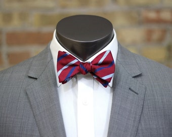 Blue, Red and White Striped Silk Bow Tie