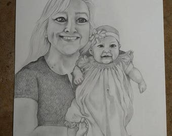 Custom Portrait Drawing, Pencil, Realistic Portrait drawing