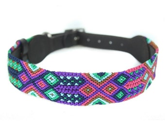 Pastel Dog Collar - Pink/Purple/Green