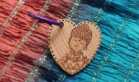 Buddha, yoga, meditation personalized woodburned heart keychain