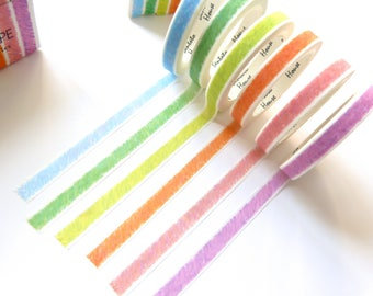 Crayon Scribbles Washi Tape Set or Singular Roll/ 7mm Slim Masking Tape / Craft Supplies / Gift Wrapping / Planner Accessories