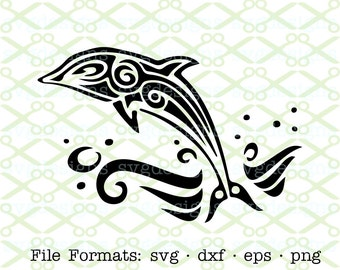 Dolphin SVG, Dxf, Eps & Png. Digital Cut Files for Cricut, Silhouette; Nautical Svg, Fish Svg, Dolphin jumping, Dolphin Line Art Silhouette