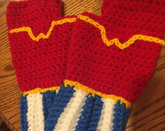 Wonder Woman Fingerless Gloves