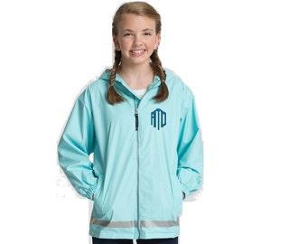 Charles River Youth New Englander Rain Jacket, 8099, Monogrammed Rain Jacket, Matching Rain Coats, Rain Gear