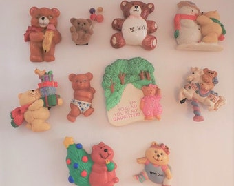 Vintage Refrigerator Magnets - 10 Teddy Bear Theme Magnets - Kitchen decor - Collectible magnets