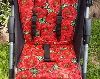 Stroller/Pram Liner made for Strider/Agile/City/Bugaboo ~ Poppies Design