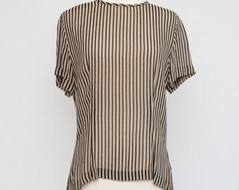 Vintage Sheer Black and Beige Darted Striped Top 1980s