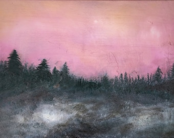 Purple, Pink, Black, and Grey Contemporary Landscape Tonalist Oil Painting by Jake Trujillo. 18 x 24 inches.