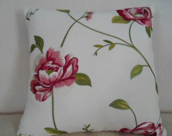 PINK & ROSE Embroidered Floral on Linen PILLOW with Coordinating green and pink Lattice Chenille on back