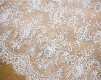 Ivory lace Beautiful chantilly lace fabric elegent wedding dress fabric bridal lace fabric for bridal dress guipure lace alencon lace fabric