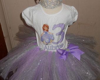 Princess Sophia the First inspired customized shirt tutu set with crown. Sophia the first themed birthday shirt tutu set.