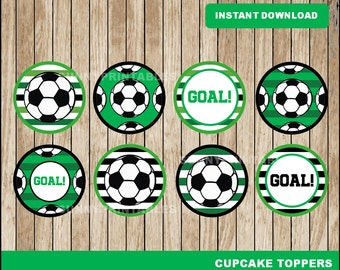 Soccer cupcakes toppers; printable Soccer toppers, Soccer party toppers instant download