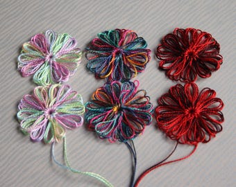 6 Loom Flowers Appliques using Crochet Cotton Variety Shades