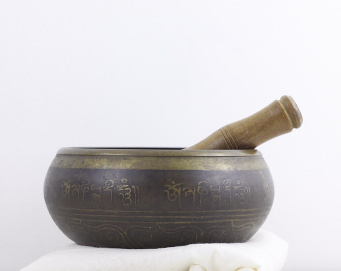 "Vintage singing bowl, Tibetan meditation bowl /w wooden striker 6.5"", mindfullness bell, healing bell, hand forged bronze vessel,"
