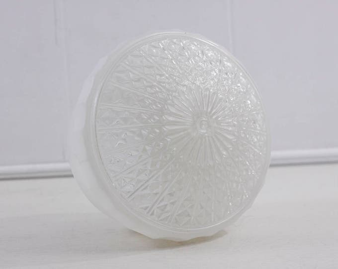 Glass lamp shade, milk glass and faceted clear glass ceiling lamp, white painted glass light shade, flush ceiling mount shade