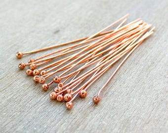 Copper Ball Head Pin - Copper Headpins - Copper Findings - Jewellery Making Supplies - Raw Copper Headpins - Headpin - HCH004