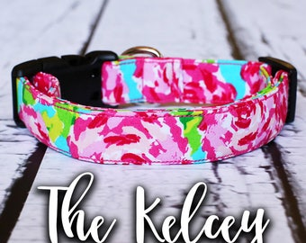"Lilly Pulitzer Inspired, Pink Collar, Floral Dog Collar, Chic Dog Collar, Girl Dog Collar, Girly, ""The Kelcey"""