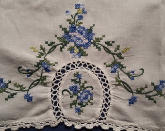 Vintage Embroidered Cross Stitch Table Topper on White Cotton