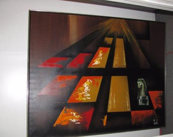1960s MCM Abstract  Wall Art Carlo Painting Canvas 5 foot CHESS PIECES Carlo of Hollywood