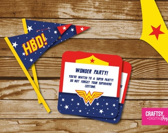 Wonder Woman Party Invitation to print