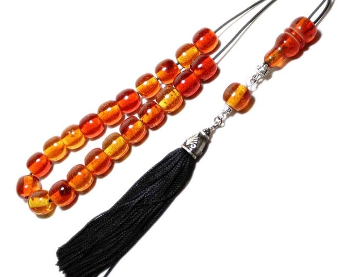 Worry Beads, Greek Komboloi, Cognac Amber color, ball shape beads, Tasbih, Handmade Black Tassel, Relaxation, Meditation