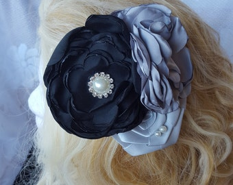 Black and Grey Hair Clip, Hair Accessory, Bridal Hair Clip, Wedding Hair Clip-Flower Bridal Fascinator