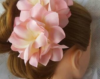 Wedding/Bridal Veil/Hair Comb with Pink Frangapanis & White Satin Trim, Wedding Headband, Wedding Comb, Romantic Comb, Bridal Headpiece
