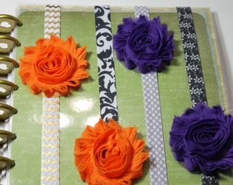Custom Fabric Flower decorative PLANNER BAND:Happy Planner Mini Planner Band, Planner accessories, Elastic Band, Erin Condren, Kikki K