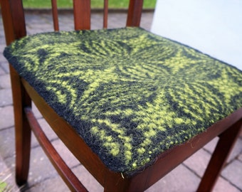 handwoven warm pure wool chair cushion, black and pea green