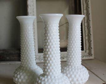 Three Milk Glass Hobnail Vases