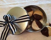 Spritz Cookies in a Cookie Tin, Nut Free Butter Cookie, Chocolate Cookie, Gifts under 20, Sugar Cookies, Cookies in a Tin, Gift Basket