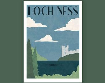 Loch Ness Travel Poster A4 Art Print