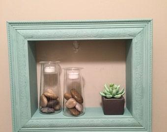 "Frame/ shelf 11""x14"" sea foam green"
