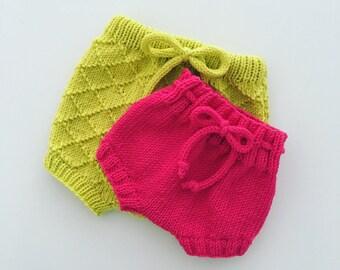 Hand knitted newborn baby shorts