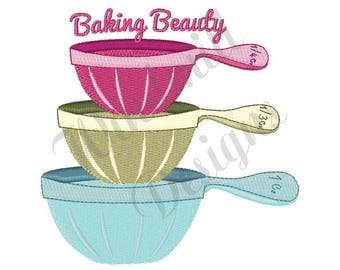 Baking Beauty Measuring Cups - Machine Embroidery Design