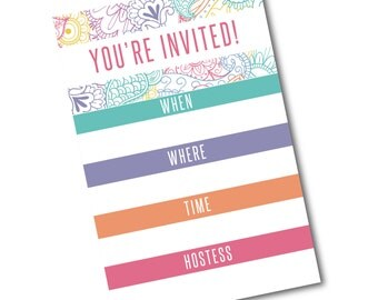 Pop Up Party Invite Template 4x6- Instant Download