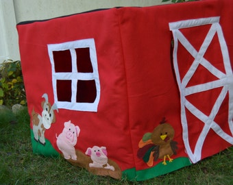 Card Table Play House, Barn with Animals, Felt Playhouse